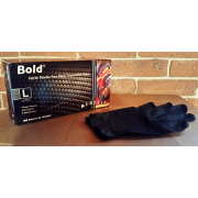 BOLD BLACK NITRILE GLOVES, L, 100/Box