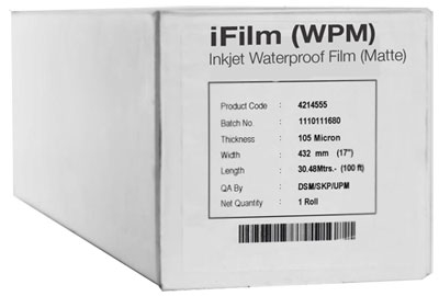 44 x 100' Matte Waterproof Inkjet Film, 4mil, 1 Roll