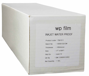 24 x 100' Gloss Waterproof Inkjet Film, 4mil, 1 Roll