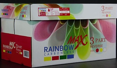 11 X 17 Rainbow Max Carbonless Paper, 3 part, 2500 Sheets